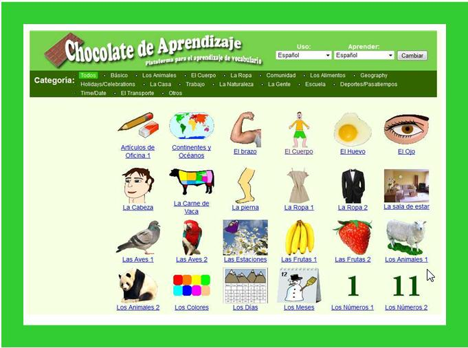 Vocabulario Chocolate de aprendizaje
